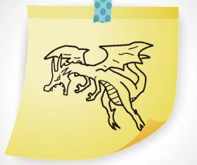 Pterosaur creative doodle vector