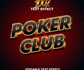 Puker club text effect vector