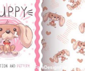 Puppy illustration pattern vector