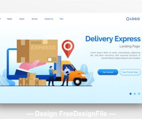 Query delivery express website landing page vector