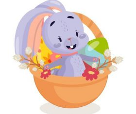 Rabbit and egg in the basket vector