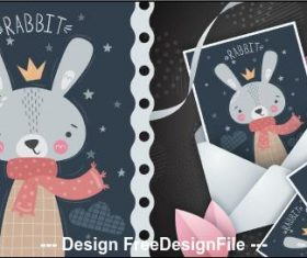 Rabbit cartoon illustration pattern vector
