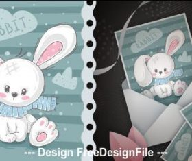 Rabbit cover postcard and pattern vector