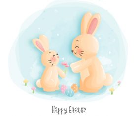 Rabbit easter background vector