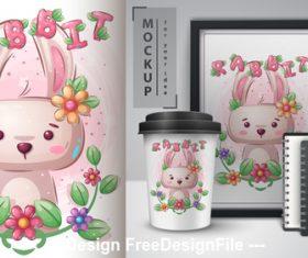 Rabbit merchandising mockup print vector