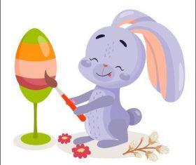 Rabbit painting an egg vector
