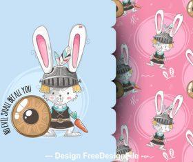 Rabbit warrior cartoon background illustration vector