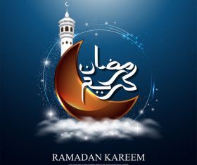 Ramadan Kareem background crescent vector