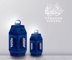 Ramadan Kareem blue lantern vector