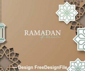 Ramadan Kareem silhouette pattern card vector