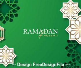 Ramadan Kareem silhouette pattern on green background vector
