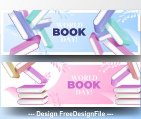 Realistic illustration world book day banner vector