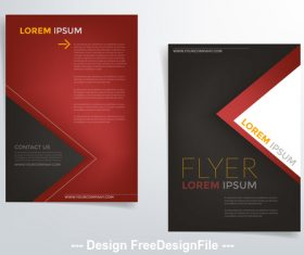 Red black brochure cover vector