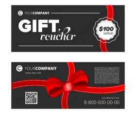 Red ribbon gift voucher design template vector