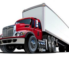 Red semi truck vector