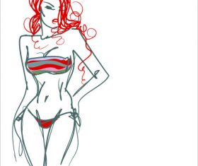 Redhead woman graphic sketch vector