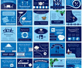 Restaurant blue poster design set vector
