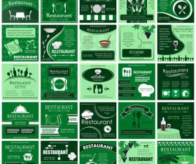 Restaurant green poster design set vector
