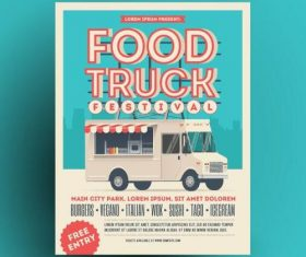 Retro food truck vector poster