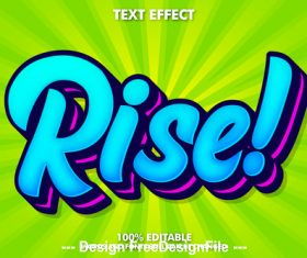 Rise editable font effect text vector
