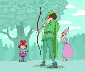 Robin hood funny caricature vector
