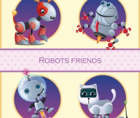 Robots friends icon vector