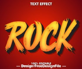 Rock editable font effect text vector