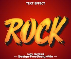 Rock editable font effect text vector