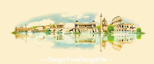 Rome watercolor painting panorama vector