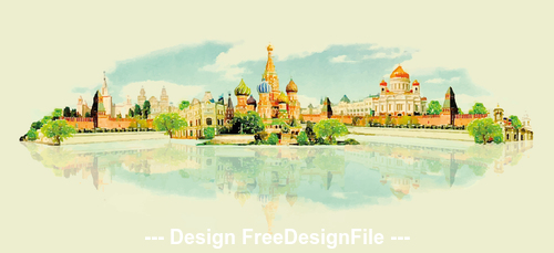 Russian city watercolor painting vector