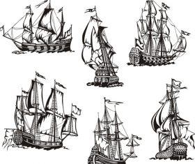 Sailboat battleship sketch vector