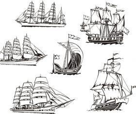 Sailing boat sketch vector
