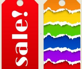 Sale color tag template vector