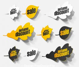 Sale leaf shape sticker vector