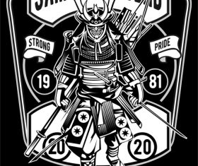 Samurai retro poster vector