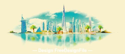 Saudi city watercolor vector