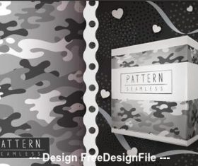 Seamless camouflage wrapping paper pattern vector