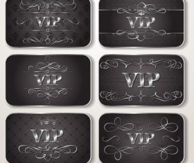 Set of silver VIP cards with floral pattern Vector
