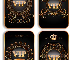 Set of vertical VIP gold cards vector