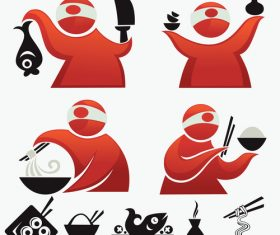 Silhouette cartoon japan cuisine vector