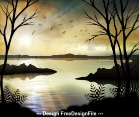 Silhouette nature landscape illustrations vector