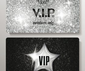Silver VIP cards with texture background vector