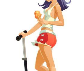 Skate girl vector