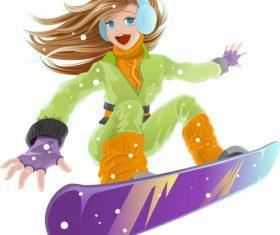 Ski girl vector