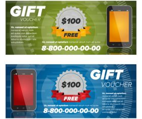 Smartphone gift voucher vector