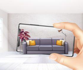 Smartphone shooting sofa vector