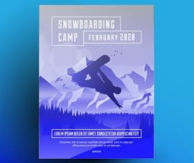 Snowboarding camp poster design vector