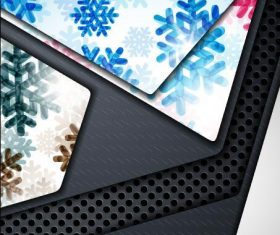 Snowflake and black border background vector