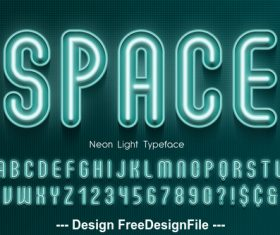 Space editable font effect text vector