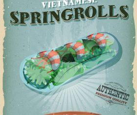 Spring rolls snack poster vector